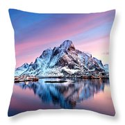 Olstind Lofoten Islands Norway Throw Pillow
