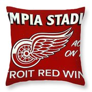 Olympia Stadium - Detroit Red Wings Sign Throw Pillow