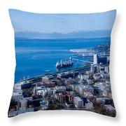 Olympic Mountains On Elliott Bay Seattle Washington Throw Pillow