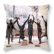 Olympic Wannabes Sculpture By Glenna Goodacre Near Infrared Throw Pillow