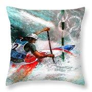 Olympics Canoe Slalom 02 Throw Pillow by Miki De Goodaboom