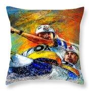 Olympics Canoe Slalom 04 Throw Pillow by Miki De Goodaboom