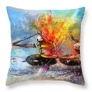 Olympics Canoe Slalom 05 Throw Pillow by Miki De Goodaboom