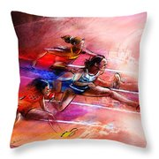 Olympics Heptathlon Hurdles 01 Throw Pillow