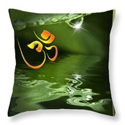 Om On Green With Dew Drop Throw Pillow