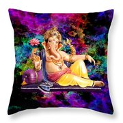 Om Shanti Ganesh Throw Pillow