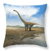 Omeisaurus Tianfuensis, An Euhelopus Throw Pillow by Roman Garcia Mora