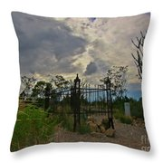 Ominous Boothill Cemetery Throw Pillow