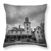 Ominous Clouds At Batsto Village Bw Throw Pillow