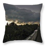 Ominous Skies Over Tracks Throw Pillow