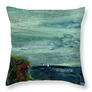 On A Bluff Over The Sea Looking At Sailboats Throw Pillow by Cathy Peterson