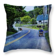 On A Country Road - Lancaster - Pennsylvania Throw Pillow