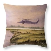 On A Mission - Hh60g Helicopter Throw Pillow