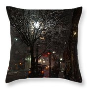 On A Walk In The Snow - Grants Pass Throw Pillow