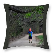 On Daddy's Shoulders Throw Pillow