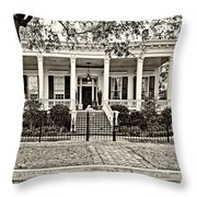 On Guard In New Orleans Sepia Throw Pillow