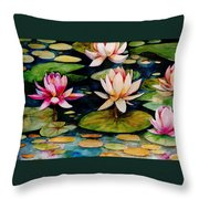 On Lily Pond Throw Pillow