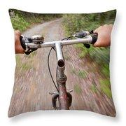On My Mountain Bike Throw Pillow