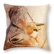 On Stage The Violinist Throw Pillow