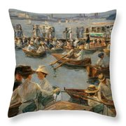 On The Alster In Hamburg Throw Pillow