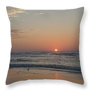 On The Beach At Sunrise - Wildwood New Jersey Throw Pillow