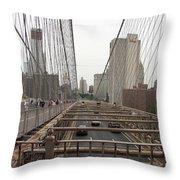 On The Brooklyn Bridge Throw Pillow