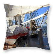 On The Deck Of A Sailing Ship Throw Pillow