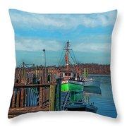 On The Dockside Bristol Rhode Island Throw Pillow