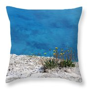 On The Edge Of Blue Throw Pillow