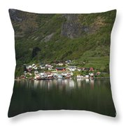 On The Edge Of The Fjord Throw Pillow