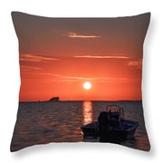 On The Gulf At Sunset Throw Pillow