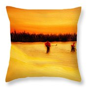 On The Pond With Dad Throw Pillow by Desmond Raymond