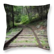 Victorian Locomotive Tracks Throw Pillow