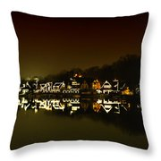 On The River At Night -  Boathouse Row Throw Pillow