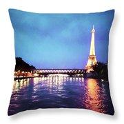 On The River Seine Throw Pillow