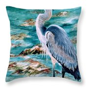 On The Rocks Great Blue Heron Throw Pillow by Roxanne Tobaison