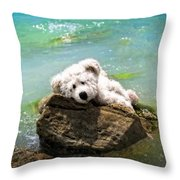 On The Rocks - Teddy Bear Art By William Patrick And Sharon Cummings Throw Pillow