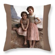 On The Rocky Beach Throw Pillow