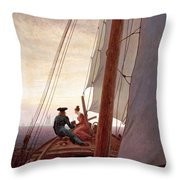 On The Sailing Boat Throw Pillow