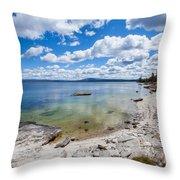 On The Shores Of Yellowstone Lake Throw Pillow