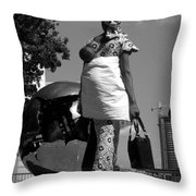 On The Steps Of The U N  -  Mother And Child Throw Pillow