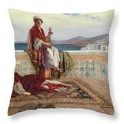On The Terrace Tangiers Throw Pillow by Rudolphe Ernst