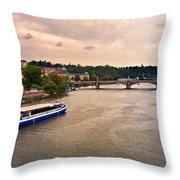 On The Vltava River - Prague Throw Pillow