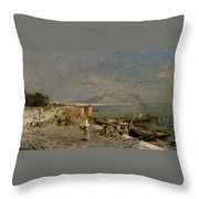 On The Waterfront At Palermo Throw Pillow by Franz Richard Unterberger