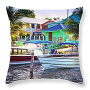 On The Waterfront Caye Caulker Belize Throw Pillow