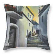 On The Way To Mamma's House In Castelluccio Italy Throw Pillow