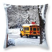 On The Way To School In Winter Throw Pillow