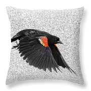 On The Wing - Red-winged Blackbird Throw Pillow