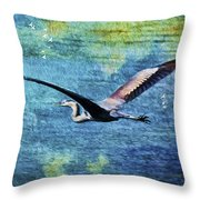 On The Wings Of Blue Throw Pillow
