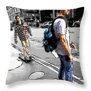 On Their Boards Throw Pillow